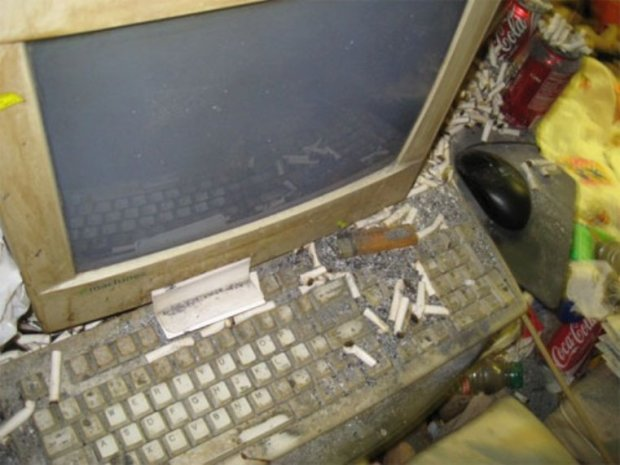 couch 8 cigs on keyboard